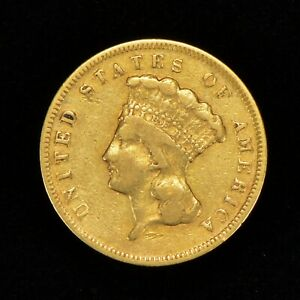 1874 G$3 INDIAN PRINCESS HEAD THREE DOLLAR GOLD PIECE LUSTER   AUTHENTIC  Y770