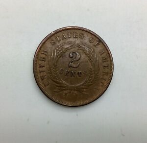 1864 LARGE MOTTO   TWO CENTS NICE EVEN BROWN REVERSE LAMINATION ERROR