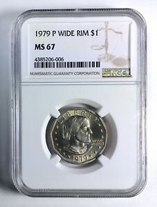 Click now to see the BUY IT NOW Price! 1979 P WIDE RIM NEAR DATE SUSAN B. ANTHONY DOLLAR NGC MS67 TOP 100 MODERN COINS