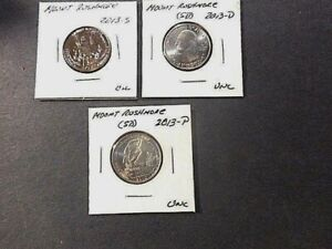 2013 AMERICA THE BEAUTIFUL QUARTERS MOUNT RUSHMORE . SET OF 3 P D S UNC COND.
