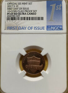 2017 S 1C OFFICAL US MINT SET NGC PF69 RD ULTRA CAMEO FIRST DAY ISSUE