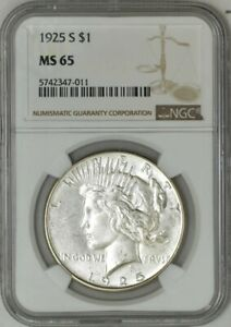 Click now to see the BUY IT NOW Price! 1925 S PEACE DOLLAR $ MS65 NGC 942100 1