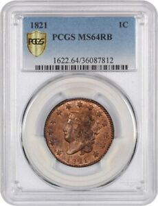 Click now to see the BUY IT NOW Price! 1821 1C PCGS MS64 RB   LARGE CENT    NEAR GEM