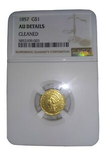 1857 G$1 LIBERTY HEAD GOLD COIN NGC CERTIFIED AU DETAILS