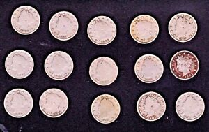 15 EA LIBERTY NICKELS EACH YEAR 1897 THROUGH 1911; VARIOUS GRADES TAKE A LOOK