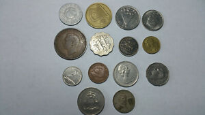 14 MIXED LOT VINTAGE FOREIGN COINS   HUNGARY ISAEL SWITZERLAND FRANCE CANADA ETC