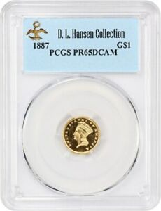 Click now to see the BUY IT NOW Price! 1887 G$1 PCGS PR 65 DCAM EX: D.L. HANSEN   1 GOLD COIN   AMAZING GEM PROOF