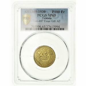 Click now to see the BUY IT NOW Price! [489376] MNZE TUNESIEN 100 FRANCS 1930 ESSAI PCGS SP65 GILT BRONZE