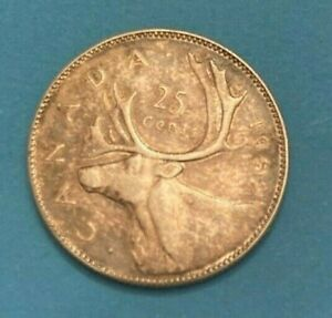 1952 CANADA 25 CENTS TWENTY FIVE CENT COIN  PATINA  NICE 80 ?  SILVER