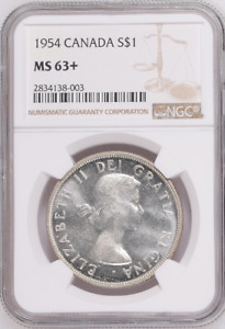 Click now to see the BUY IT NOW Price! :1954 S1$ DOLLAR ELIZABETH II CANADA KM54 LOW POP NGC MS 63  HIGHEST GRADES