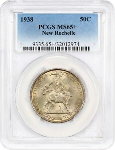 1938 NEW ROCHELLE 50C PCGS MS65    PRETTY REVERSE TONING   LOW MINTAGE ISSUE