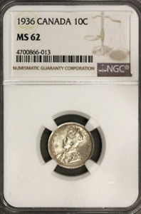 :1936 SILVER DIME GEORGE V 10C CANADA KM 23A LOW POP NGC MS 62 HIGHEST GRADES