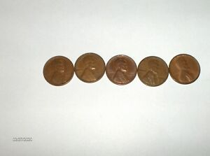 LOT OF 5 WHEAT PENNIES VF OR BETTER