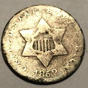 1852 THREE CENT SILVER AVERAGE CIRCULATED 2