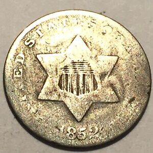 1852 THREE CENT SILVER AVERAGE CIRCULATED 3