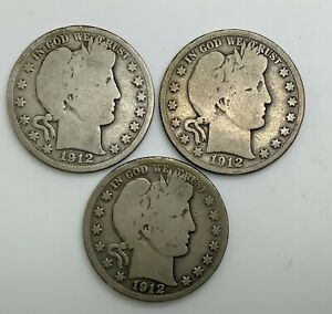 Click now to see the BUY IT NOW Price! 1912 P D & S  BARBER HALF DOLLAR  LOWER GRADE  3 DIFFERENT MINTS  YEAR SET