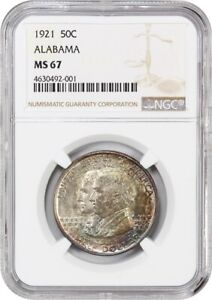 Click now to see the BUY IT NOW Price! 1921 ALABAMA 50C NGC MS67   BEAUTIFUL RAINBOW TONING   BEAUTIFUL RAINBOW TONING