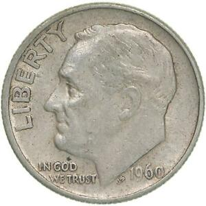 1960 ROOSEVELT DIME 90  SILVER EXTRA FINE XF