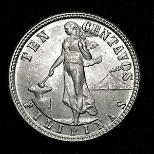 Click now to see the BUY IT NOW Price! UNCIRCULATED 1944 D PHILIPPINES 10 CENTAVOS KM 181 SILVER FOREIGN COIN