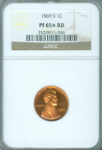 1969 S LINCOLN CENT NGC PF65 STAR RD FREE S/H  2025713