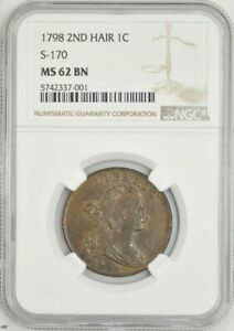 1798 LARGE CENT 1C 2ND HAIR S 170 MS62 BN NGC 942443 1