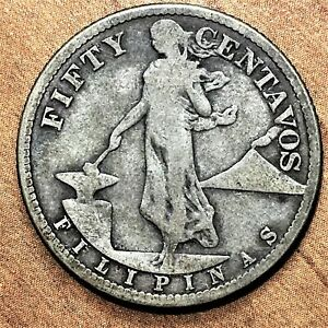 Click now to see the BUY IT NOW Price! 1919 S PHILIPPINES 50 CENTAVOS SILVER KM 171 NICE  BETTER DATE COIN