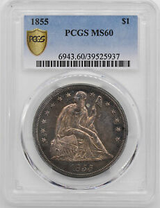 1855 LIBERTY SEATED S$1 PCGS MS 60