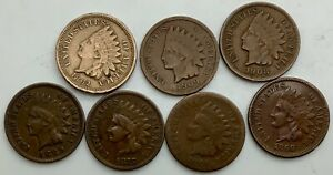 Click now to see the BUY IT NOW Price! 1862 1864 1866 1875 1889 1908 1909 MIXED LOT OF 7 INDIAN HEADS  VARIOUS GRADES