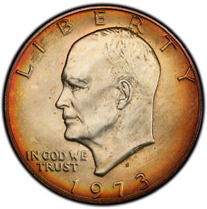 MS65 1973 S $1 SILVER EISENHOWER DOLLAR PCGS SECURE  RAINBOW MINT BOX TONED