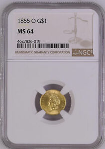 Click now to see the BUY IT NOW Price! 1855 O GOLD G$1 NGC MS 64