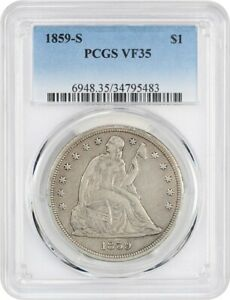 1859 S $1 PCGS VF35   LIBERTY SEATED DOLLAR   TOUGH DATE