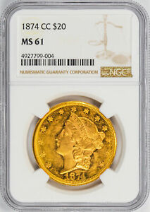 Click now to see the BUY IT NOW Price! 1874 CC LIBERTY HEAD $20 NGC MS 61