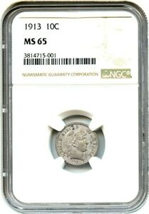 1913 10C NGC MS65   BARBER DIME