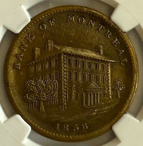 Click now to see the BUY IT NOW Price! CANADA BANK OF MONTREAL SIDE VIEW PENNY 1838 LC11A2 WIDE TAIL    NGC MS62