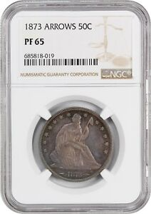 Click now to see the BUY IT NOW Price! 1873 50C NGC PR 65  ARROWS  DESIRABLE 2 YEAR TYPE COIN ISSUE