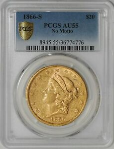 Click now to see the BUY IT NOW Price! 1866 S $20 GOLD LIBERTY NO MOTTO AU55 SECURE PLUS PCGS 938559 4