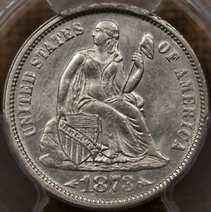 Click now to see the BUY IT NOW Price! 1873 DOUBLED DIE OBV F 103 SEATED DIME PCGS MS61 FINEST   DAVIDKAHNCOINS
