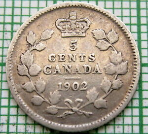 CANADA EDWARD VII 1902 5 CENTS SILVER ONE YEAR TYPE
