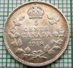 CANADA GEORGE V 1918 5 CENTS SILVER