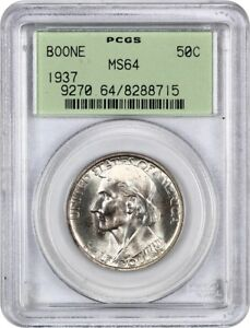 1937 BOONE 50C PCGS MS64  OGH  LOW MINTAGE ISSUE   SILVER CLASSIC COMMEMORATIVE