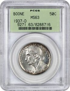 1937 D BOONE 50C PCGS MS63  OGH  LOW MINTAGE ISSUE   LOW MINTAGE ISSUE