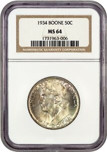 1934 BOONE 50C NGC MS64   LOW MINTAGE ISSUE   SILVER CLASSIC COMMEMORATIVE