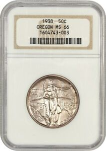 1938 OREGON 50C NGC MS66   LOW MINTAGE ISSUE   SILVER CLASSIC COMMEMORATIVE