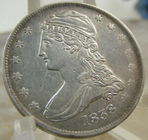 1838 P CAPPED BUST SILVER REEDED EDGE HALF DOL DOLLAR  AU DETAILS US 50C COIN