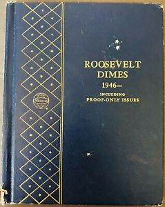 US ROOSEVELT DIME  1946 1980  NEAR COMPLETE SET 87 COINS W/PROOFS WHITMAN FOLDER