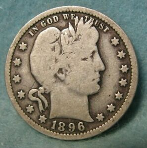 1896 O BARBER SILVER QUARTER VG   UNITED STATES COIN 4071