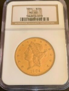 1904 GOLD $20 LIBERTY DOUBLE EAGLE MS 62 NGC
