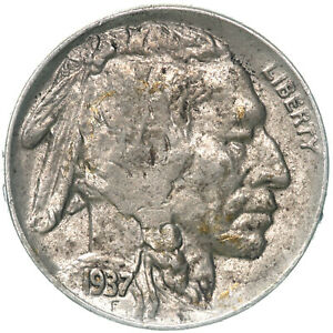 1937 D BUFFALO NICKEL ABOUT UNCIRCULATED AU