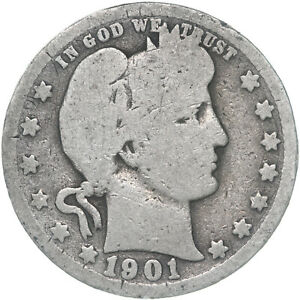 1901 O BARBER QUARTER 90  SILVER ABOUT GOOD AG