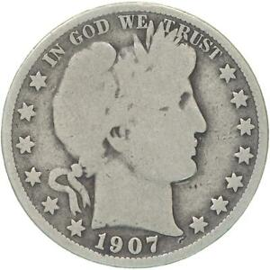 1907 O BARBER HALF DOLLAR 90  SILVER GOOD GD